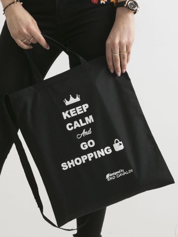 Czarna eko torba z napisem KEEP CALM AND GO SHOPPING