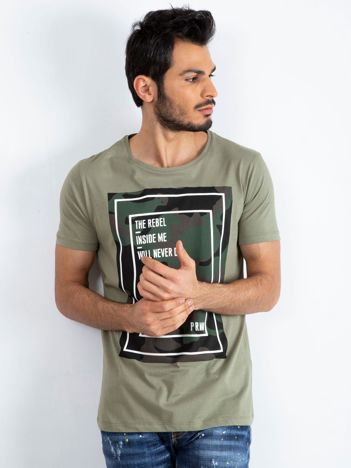 Khaki t-shirt męski Monsoon