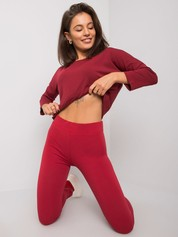 Bordowe legginsy Basic