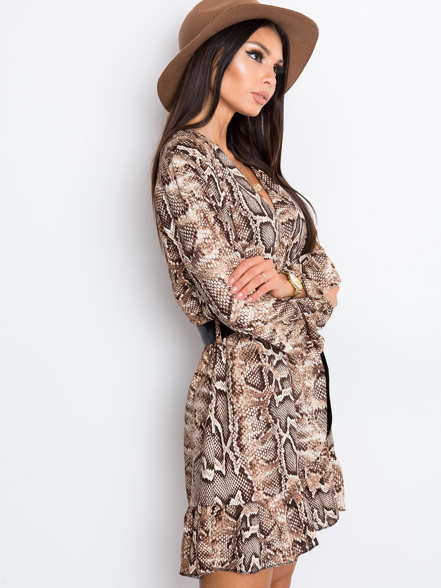 Brązowa sukienka Shock
